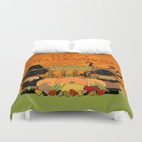 thanksgiving Duvet Covers featuring Thanksgiving by BLOOP