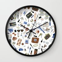 wallet Wall Clocks featuring Girly Objects by Yuliya