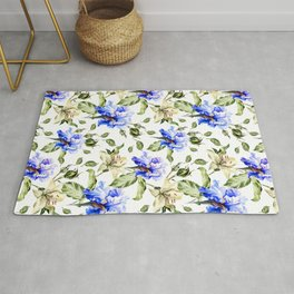 Irisis and lilies - flower pattern no3 Rug