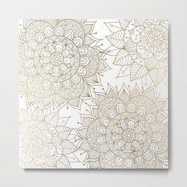 Elegant faux gold white spiritual floral mandala Metal Print