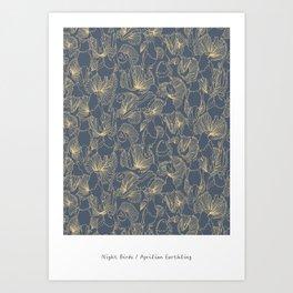 Night Birds in Blue Art Print