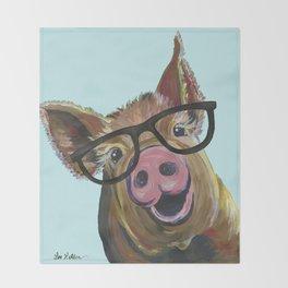 Cute Pig, Pig Art, Farm Animal Throw Blanket