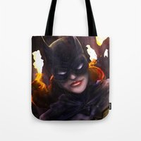 batgirl Tote Bags featuring Batgirl by Nicole M Ales