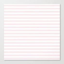 Wide Pastel Pink and White Mattress Ticking Canvas Print