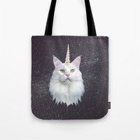 unicorn Tote Bags featuring Unicorn Cat by Oh Monday