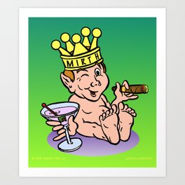 Mirthful Relaxing With Cigar & Martini Art Print