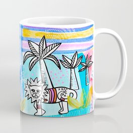 Unlikely Friends Painting - Lion Dinosaur Palm Trees Coffee Mug