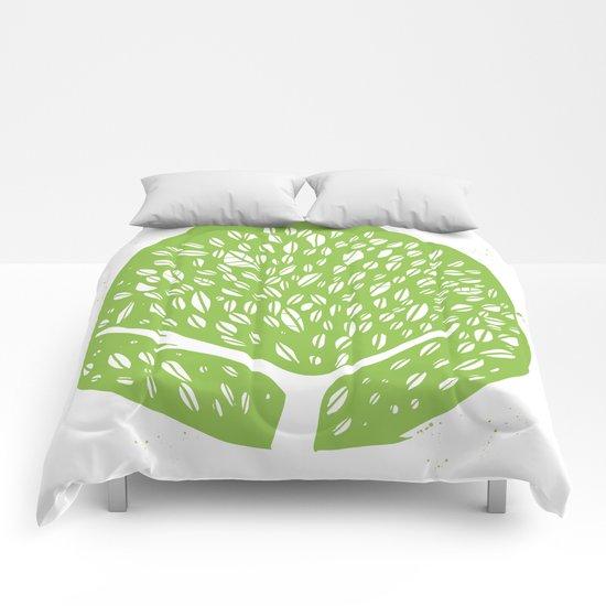 Tree of life - pea green Comforters