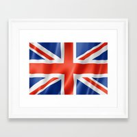 british flag Framed Art Prints featuring UK / British waving flag by GoodGoods