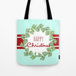 Happy Christmas striped holiday Tote Bag