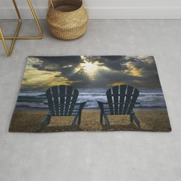 Two Adirondack Deck Chairs on the Beach with Waves crashing on the Shore Rug