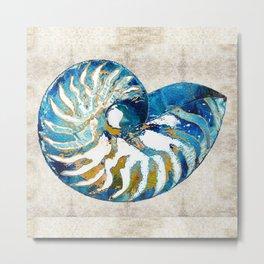 Beachy Art - Nautilus Shell Bleu - Sharon Cummings Metal Print