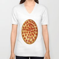 pizza V-neck T-shirts featuring Pizza by I Love Decor