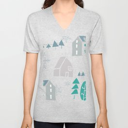 winter holiday houses Unisex V-Neck