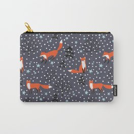 Red foxes in the nignt winter forest Carry-All Pouch