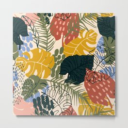 Tropical Leaf Pattern in Mustard, Red and Green Metal Print
