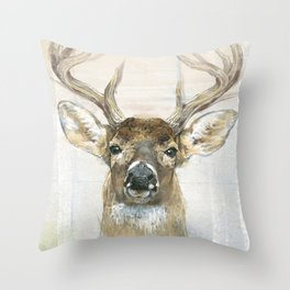 White-tailed Deer Surrounded By Birch Throw Pillow