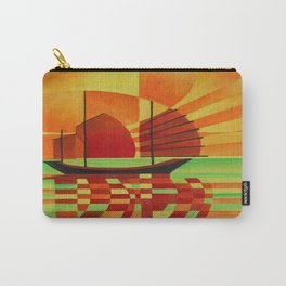 Junk on Sea of Green Cubist Abstract  Carry-All Pouch