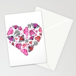 Pink Love of Moths and Butterflies Stationery Cards
