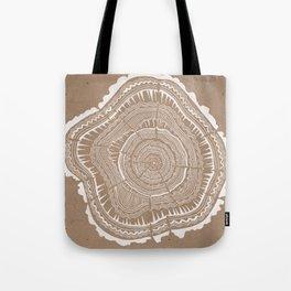 Tree Rings – White Ink on Kraft Tote Bag