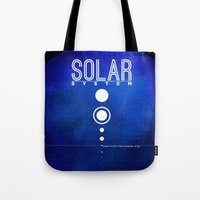 solar system Tote Bags featuring Solar System by Sixtybones