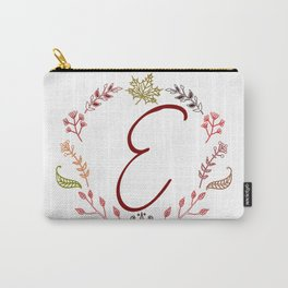 Floral E letter Carry-All Pouch