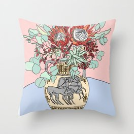 Greek Urn with Horses and Protea Bouquet Throw Pillow