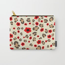 Romantic Leopard Print Pattern with Red Flowers Carry-All Pouch