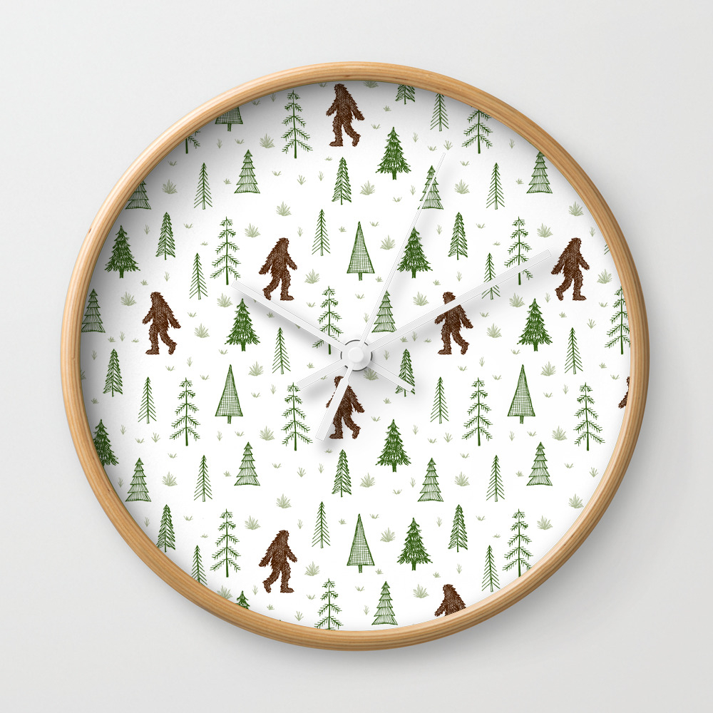 Trees + Yeti Pattern In Color Wall Clock by Staceywalkeroldham CLK8597777
