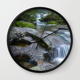 Waterfalls in wild forest Wall Clock
