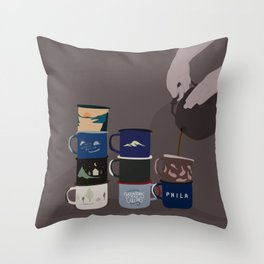 obsessed with mugs Throw Pillow