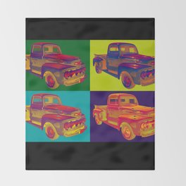 Colorful 1951 Ford F-1 Pickup Truck Pop Art  Throw Blanket