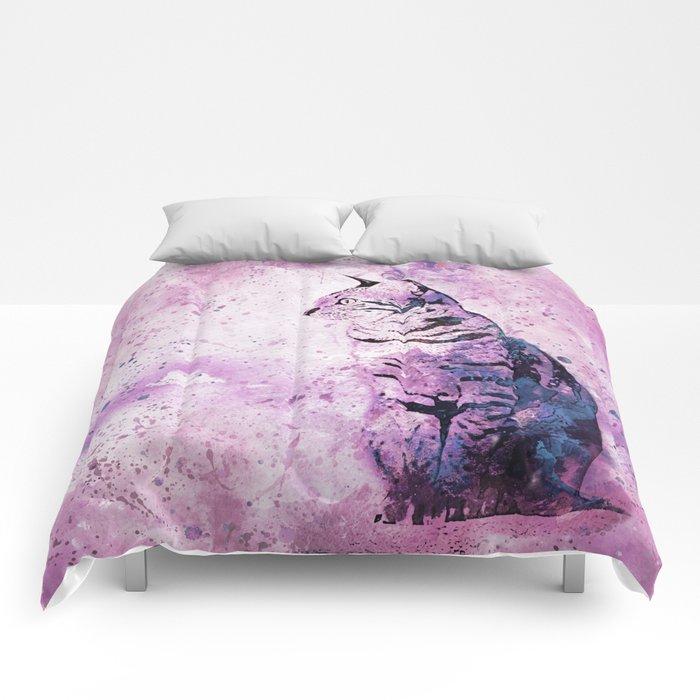 Pink Watercolor Cat Painting Comforters