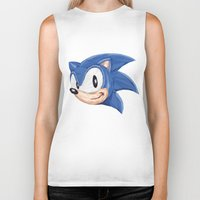 video games Biker Tanks featuring Triangles Video Games Heroes - Sonic by s2lart