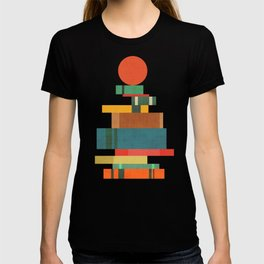 Book stack with a ball T-shirt