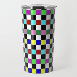 Retro 3 - Abstract, multicoloured, bold, chekkered, checkered pattern Travel Mug