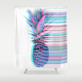 Light Blue and Pink Pineapple Shower Curtain