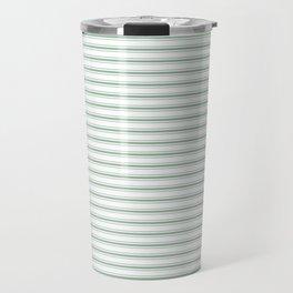 Mattress Ticking Narrow Horizontal Striped Pattern in Moss Green and White Travel Mug