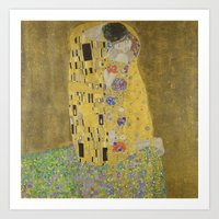 gustav klimt Art Prints featuring Gustav Klimt The Kiss by Artlala for MSF Doctors Without Borders