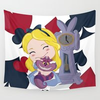 alice wonderland Wall Tapestries featuring Alice in wonderland by 7pk2 online