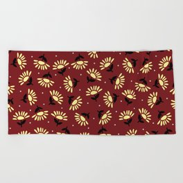 Ethnic flowers Beach Towel
