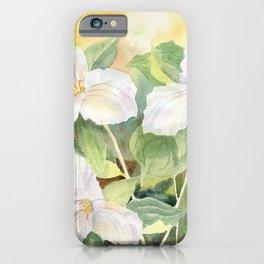 Trillium Wildflowers Watercolor  iPhone Case