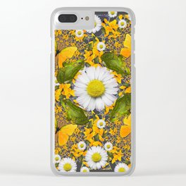 GREEN FROGS & YELLOW  BUTTERFLY WHITE DAISIES Clear iPhone Case