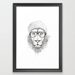 Cool lion (bw) Framed Art Print