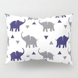 Elephants & Triangles - Gray / Navy Blue Pillow Sham