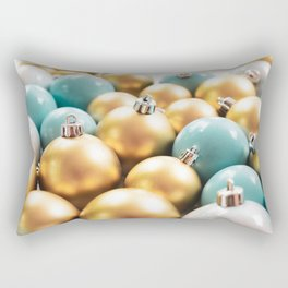 Blue and Gold Christmas Ornaments Rectangular Pillow