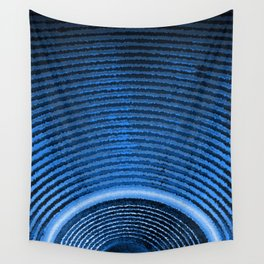 Blue music speaker and sound waves Wall Tapestry