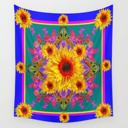 Blue-Teal  Butterflies Yellow-Red Sunflower Patterns Wall Tapestry