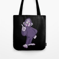 sassy Tote Bags featuring Sassy Squatch by Chris Piascik