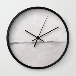 Desert Horizon Beige Neutral Sandy Beach Gray Clouds Abstract Nature Painting Art Print Wall Decor  Wall Clock